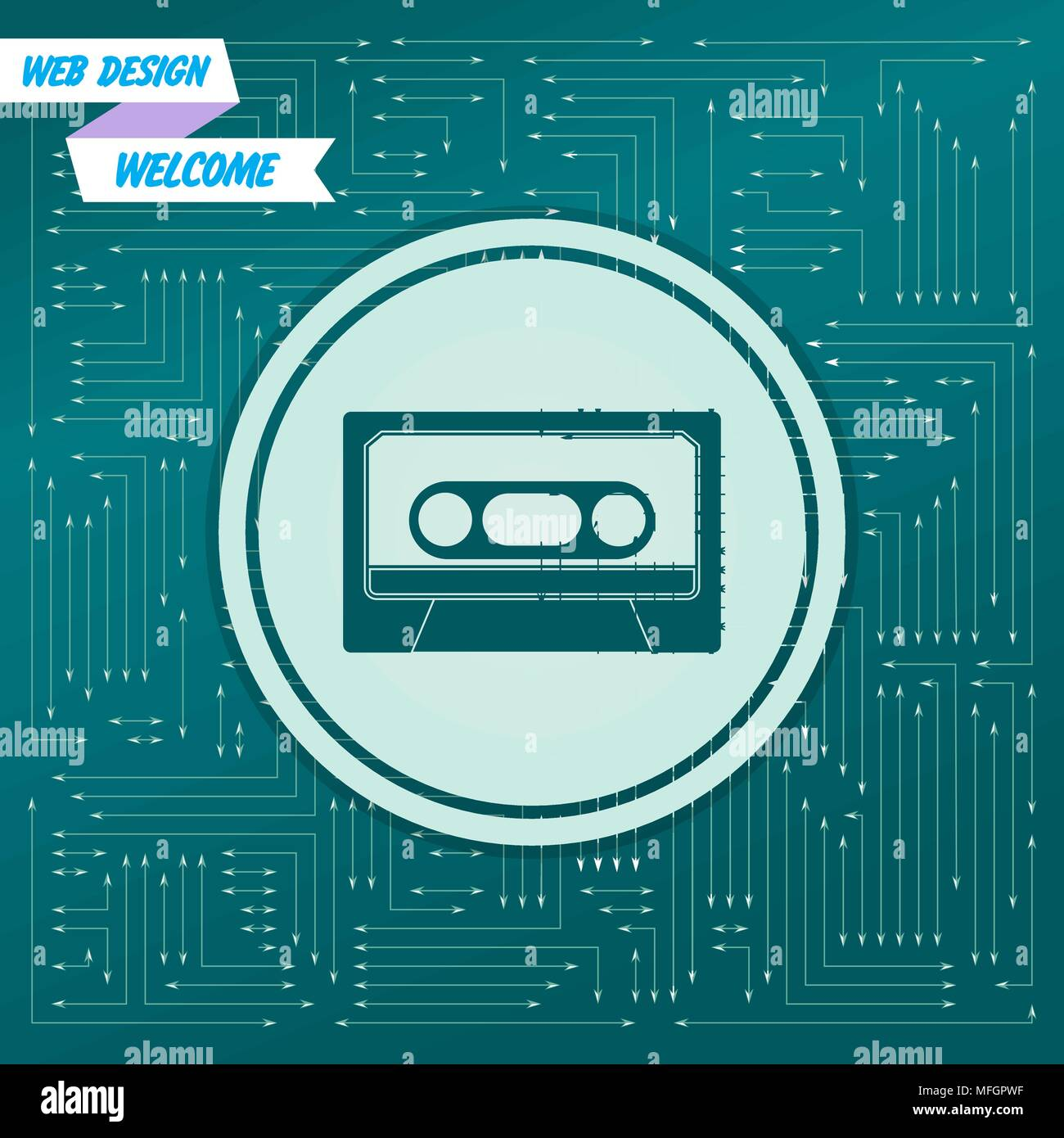 Cassette icon on a green background, with arrows in different directions. It appears on the electronic board. Vector illustration - Stock Vector