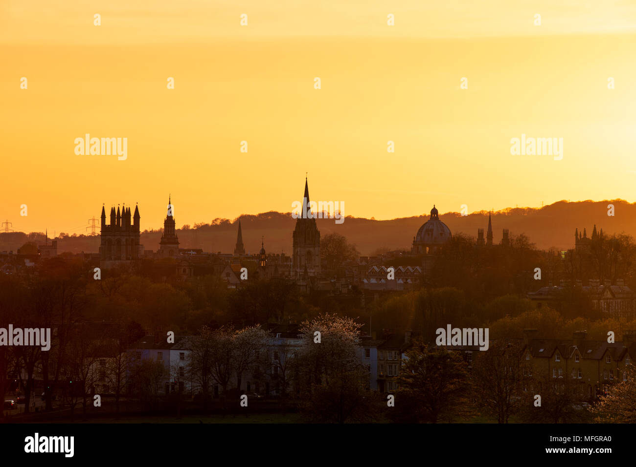 Oxford city from south park at sunset. Oxford, Oxfordshire, England - Stock Image