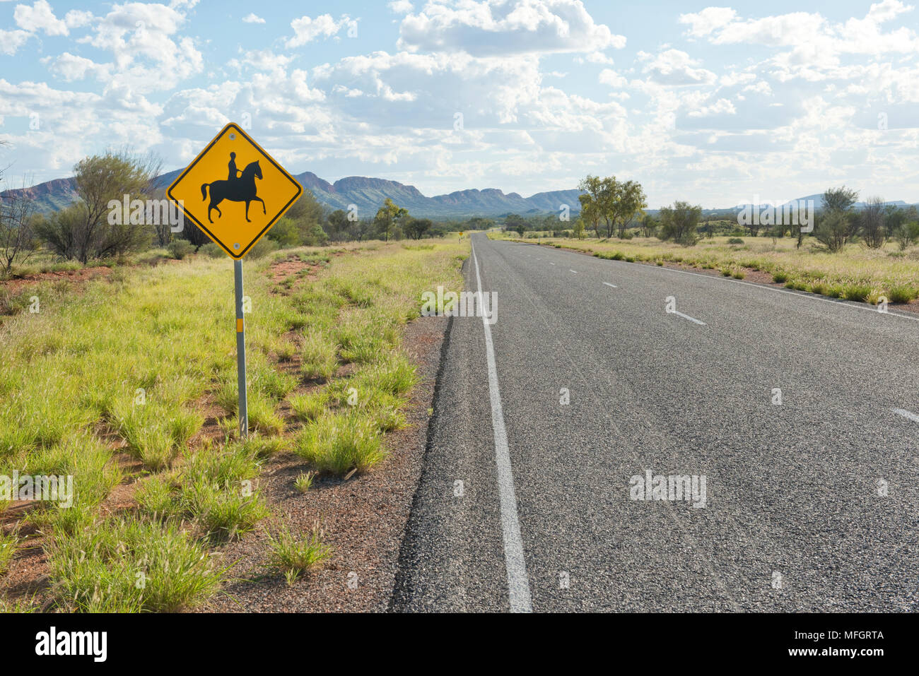 Horse rider warning sign. Larapinta Drive, Highway 6, Alice Springs - Stock Image