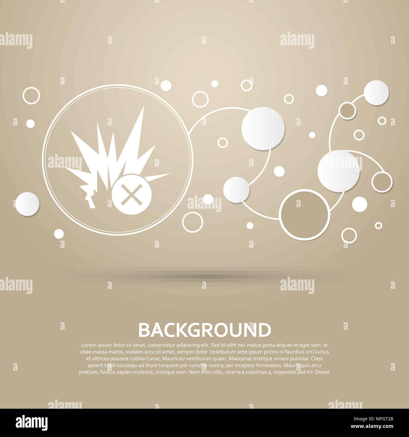 explosion icon on a brown background with elegant style and modern design infographic. Vector illustration Stock Vector