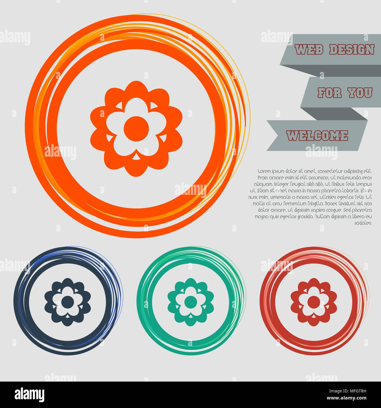 flower icon on the red, blue, green, orange buttons for your website and design with space text. Vector illustration Stock Vector