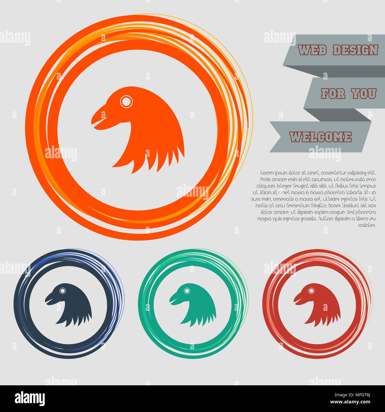 eagle icon on the red, blue, green, orange buttons for your website ...