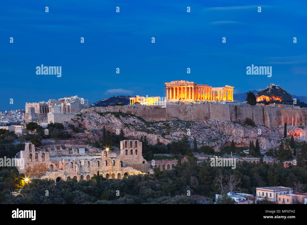 Acropolis Hill and Parthenon in Athens, Greece - Stock Image