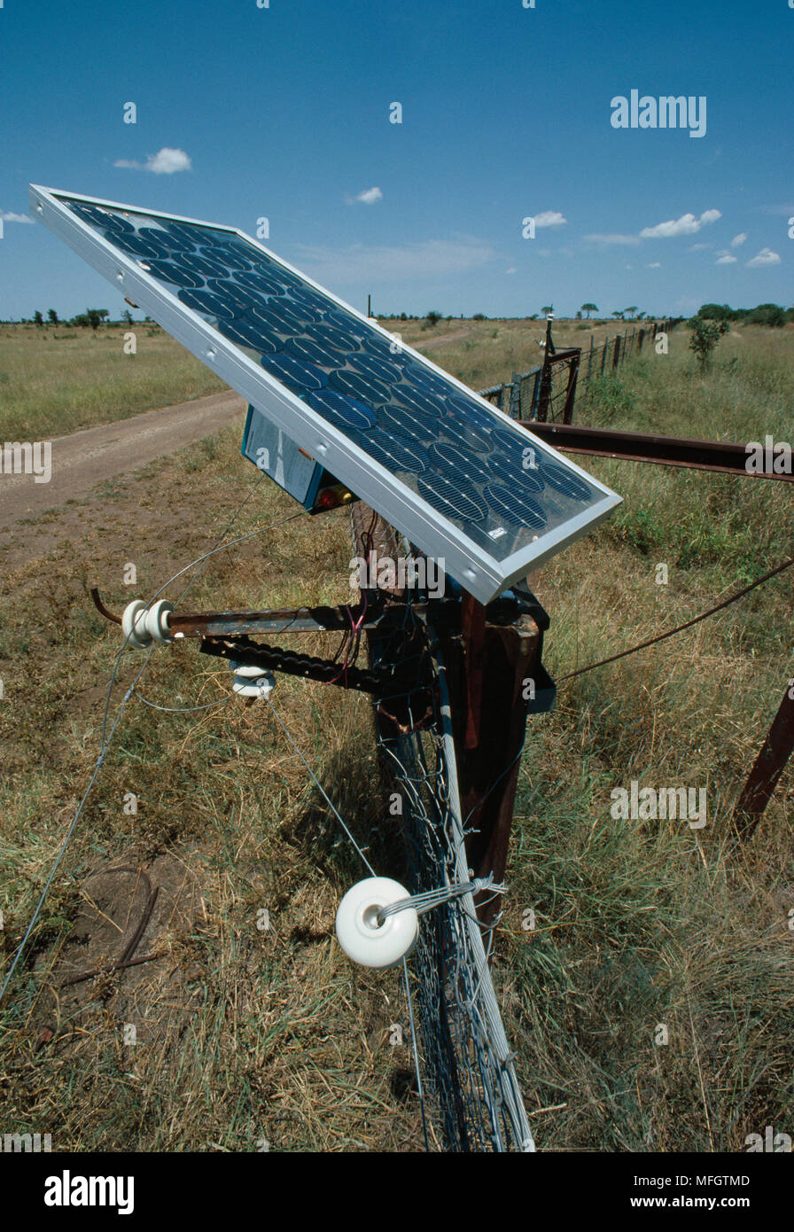 SOLAR PANEL used to power electric  fences which surround the Kruger National  Park, to stop elephants from straying into  adjoining farming areas. So - Stock Image