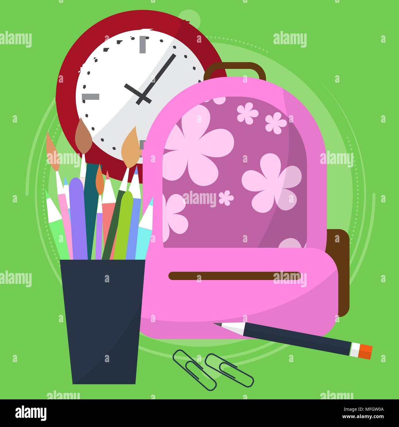 school bag with a pencil case in which the pens and pencils. Watch that show how much is left before the end of the lesson. Back to school. Start the  - Stock Vector