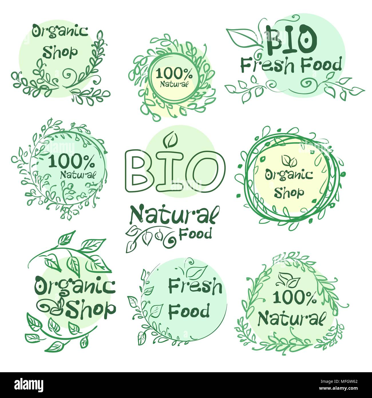 Set of logotypes elements hand-drawn bio, organic, natural food for your design. Vector illustration - Stock Vector