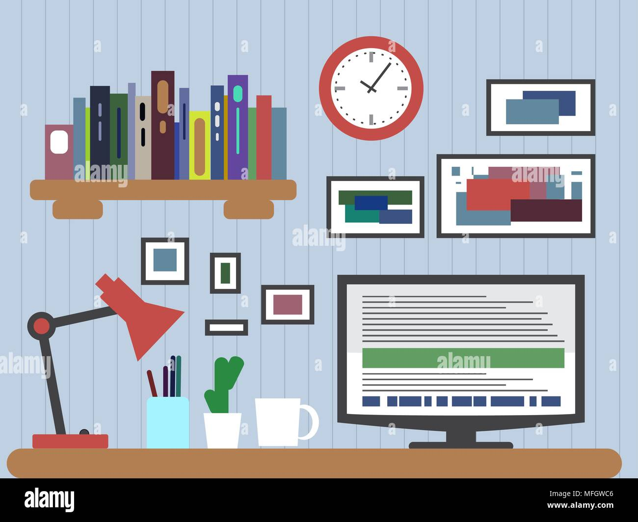 Flat design of modern office interior with designer desktop showing design application with interface icons and elements in minimalist style and color - Stock Photo