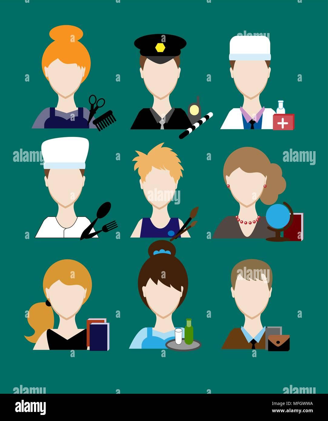Avatars profession people cop doctor, cook, hairdresser, an artist, teacher, waiter, a businessman, secretary. Face men uniform. Avatars in flat desig - Stock Vector