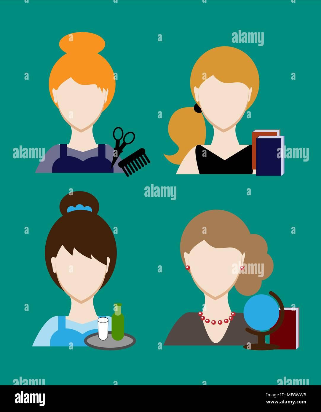 Profession people hairdresser, teacher, secretary. Face men uniform. Avatars in flat design. Vector illustration - Stock Vector