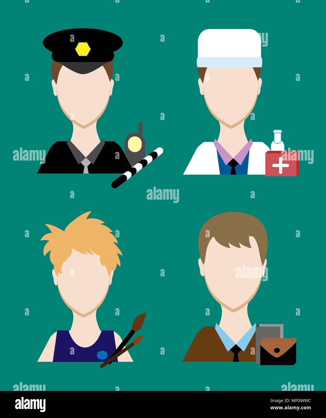 Profession people cop,  doctor, an artist, a businessman. Face men uniform. Avatars in flat design. Vector illustration - Stock Vector