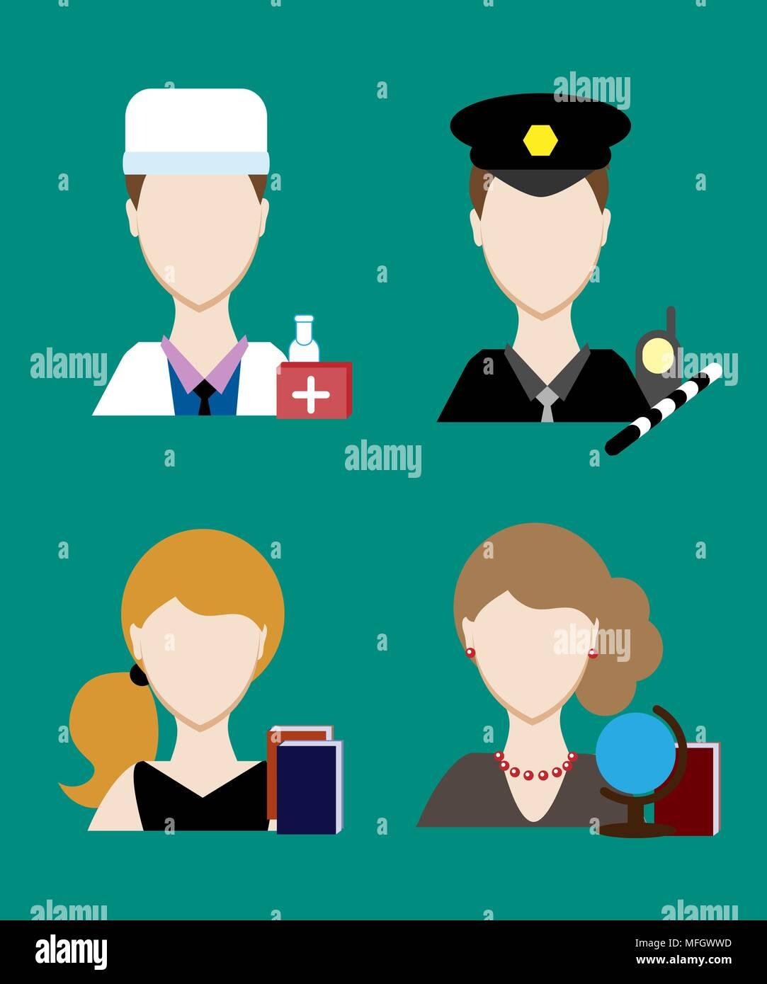Profession people cop,  doctor, Face men uniform. Avatars in flat design. Vector illustration - Stock Vector