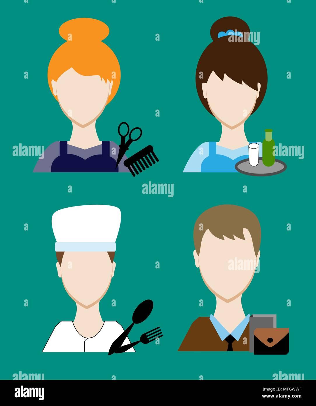 Profession people cook, hairdresser, teacher, waiter a businessman, secretary. Face men uniform. Avatars in flat design. Vector illustration - Stock Vector