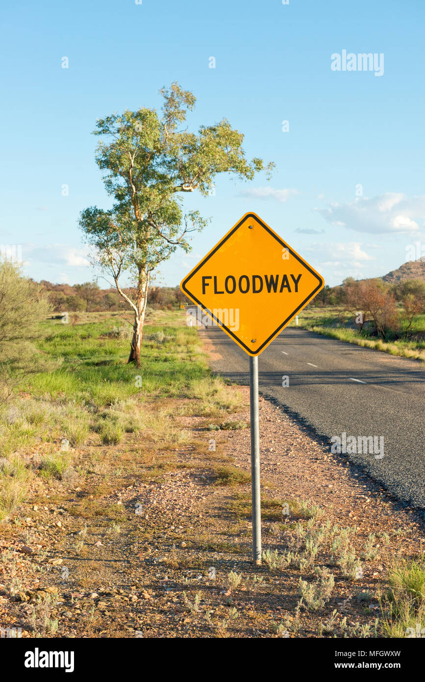 Fllodway sign of State Highway 6. West of Alice Springs - Stock Image