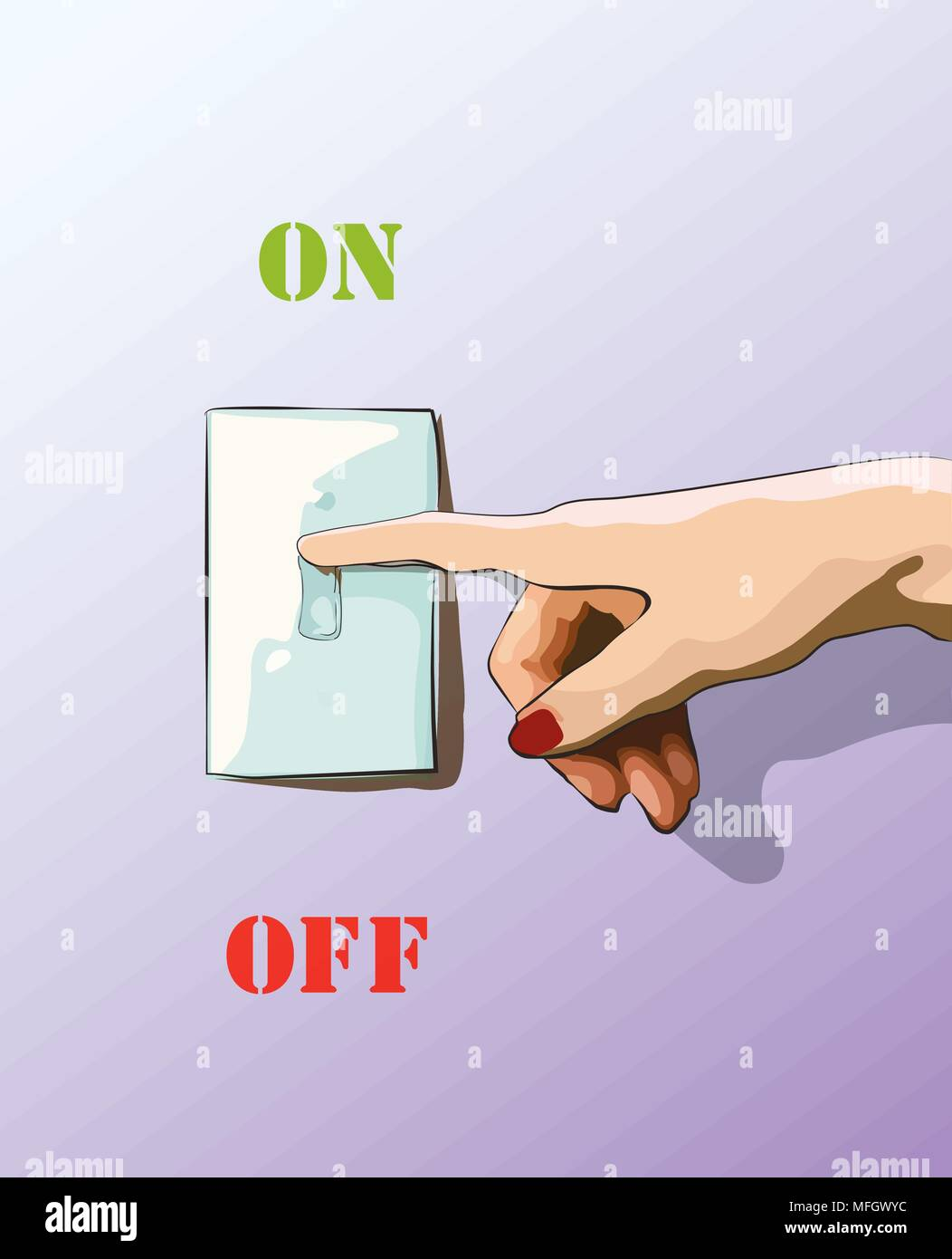 Turn off toggle style electric light wall switch. Conserve energy. Vector illustration - Stock Vector