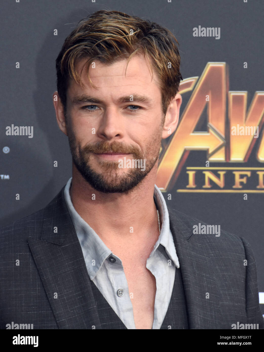 LOS ANGELES, CA - APRIL 23: Actor Chris Hemsworth attends the World Premiere of Disney and Marvels 'Avengers: Infinity War' on April 23, 2018 in Los Angeles, California. Photo by Barry King/Alamy Live News Stock Photo