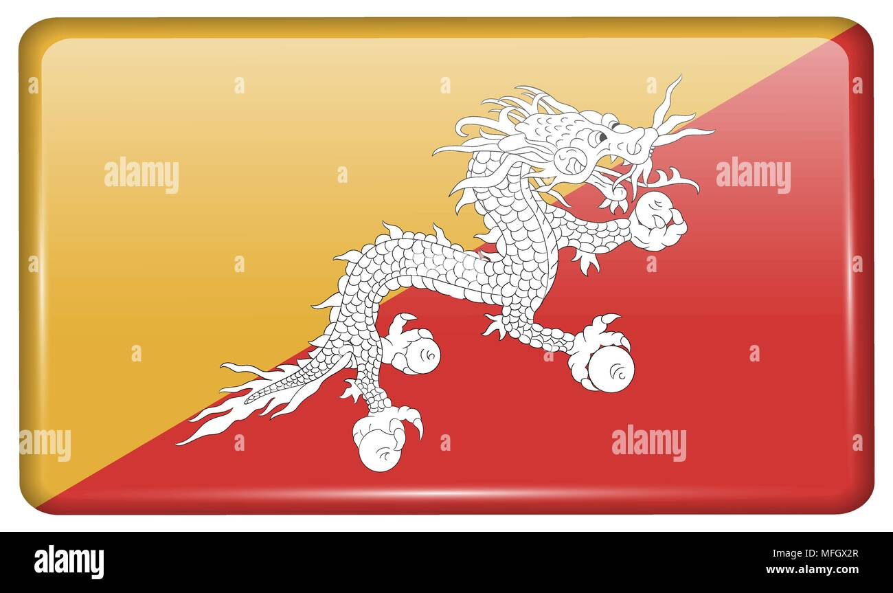 Flags of Bhutan in the form of a magnet on refrigerator with reflections light. Vector illustration - Stock Vector