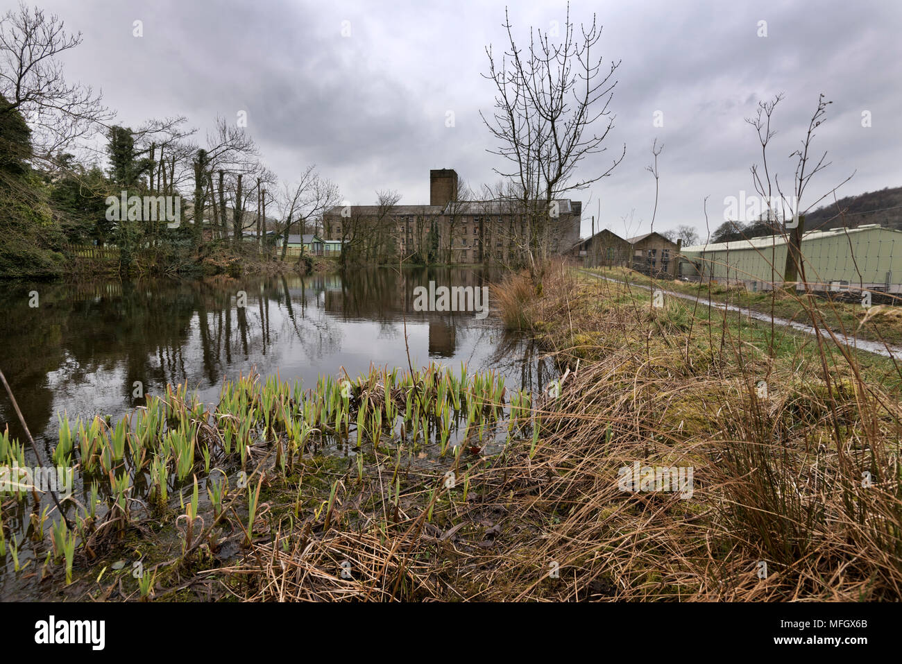 Former cotton mill at Langcliffe, near Settle, North Yorkshire. The mill now produces cardboard packaging. - Stock Image