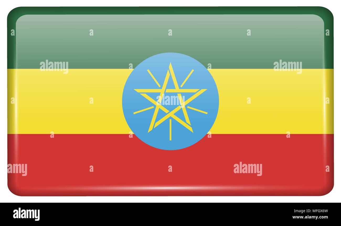 Flags of Ethiopia in the form of a magnet on refrigerator with reflections light. Vector illustration - Stock Vector
