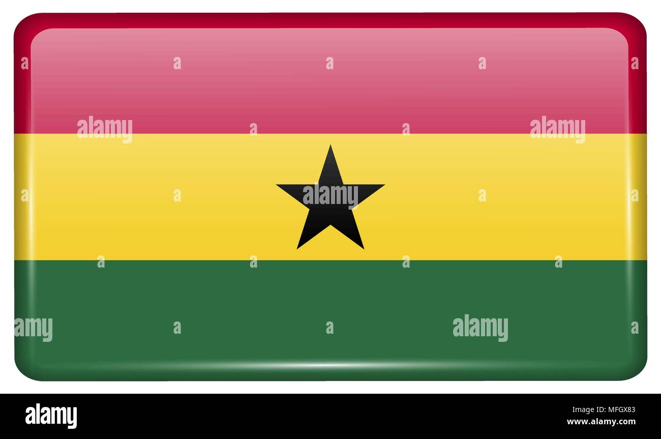 Flags of Ghana in the form of a magnet on refrigerator with reflections light. Vector illustration - Stock Vector