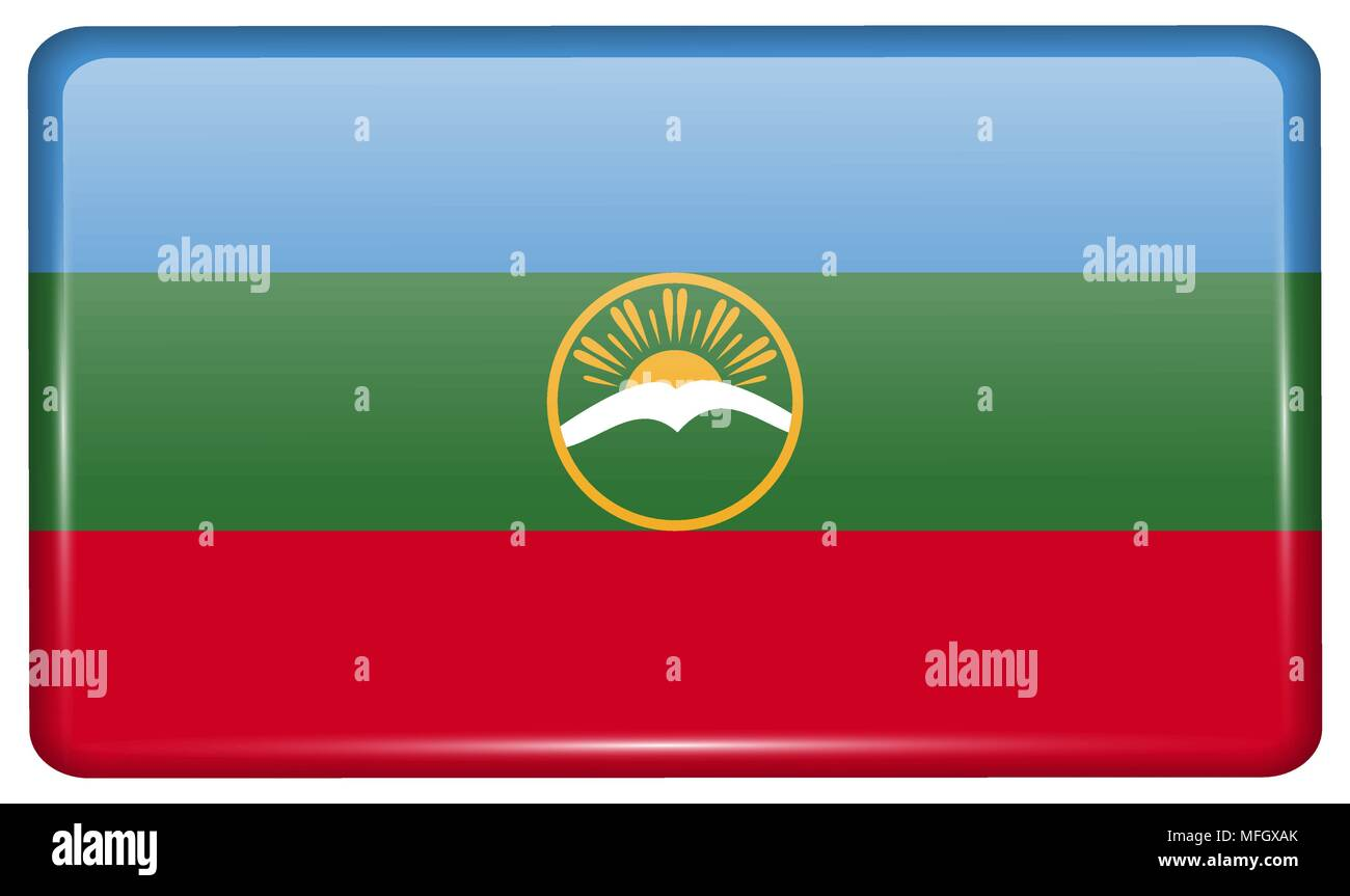 Flags of KarachayCherkessia in the form of a magnet on refrigerator with reflections light. Vector illustration - Stock Image