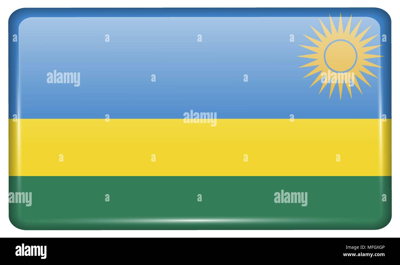 Flags of Rwanda in the form of a magnet on refrigerator with reflections light. Vector illustration - Stock Vector