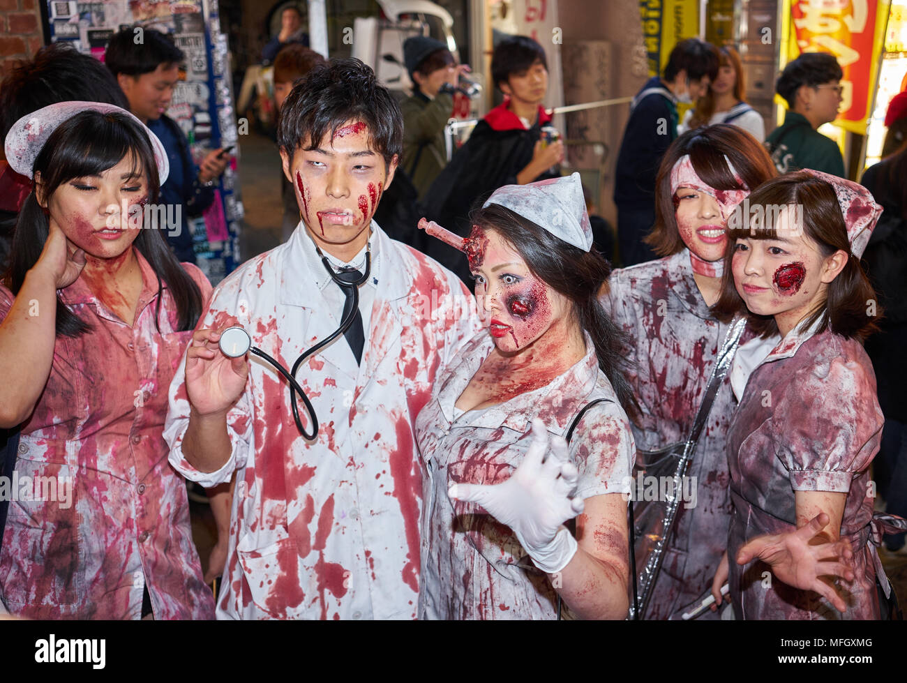 f18377644a14d Doctors and nurses zombie costumes at the Halloween celebrations in  Shibuya, Tokyo, Japan, Asia