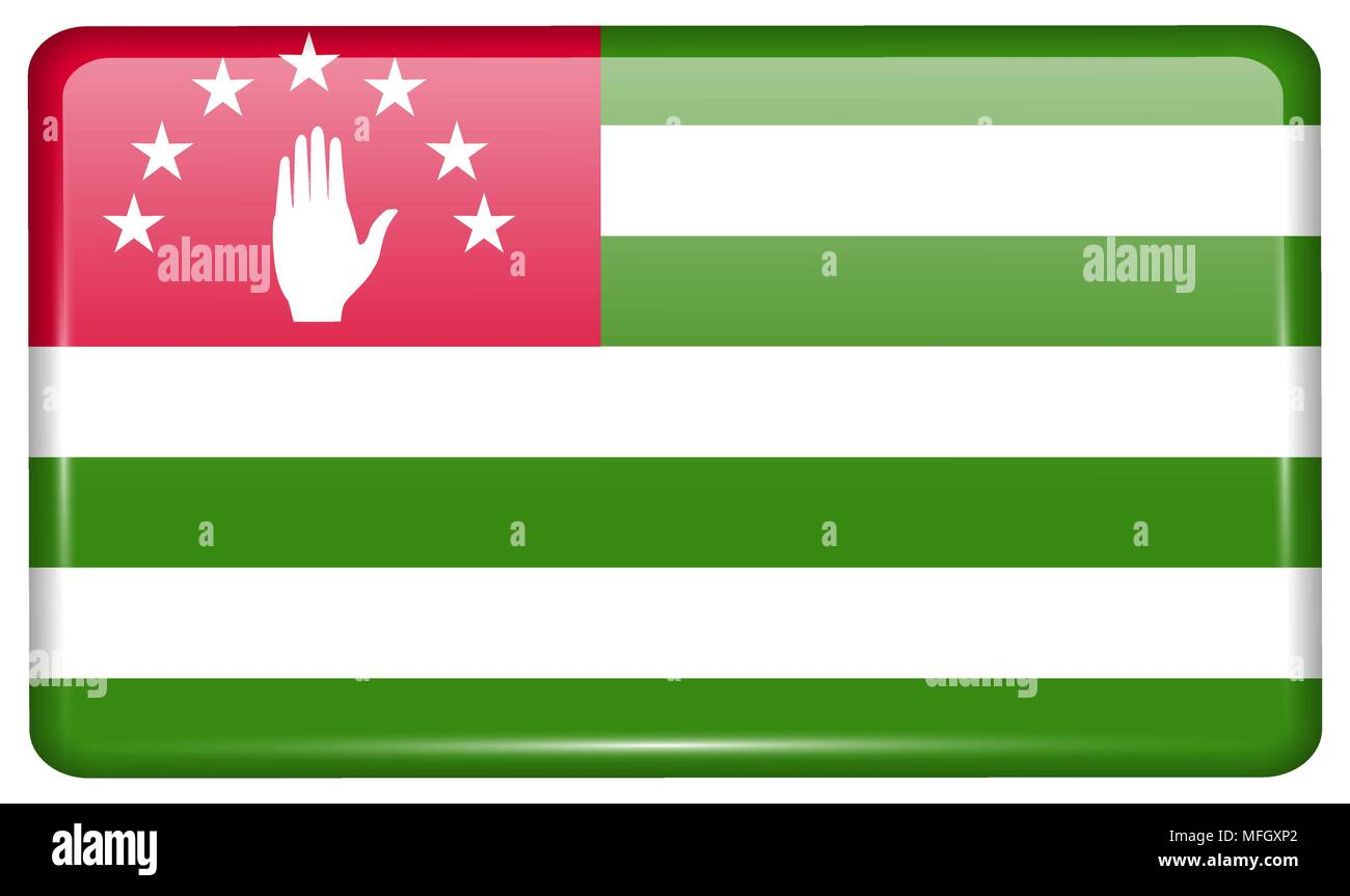 Flags of Abkhazia in the form of a magnet on refrigerator with reflections light. Vector illustration - Stock Vector