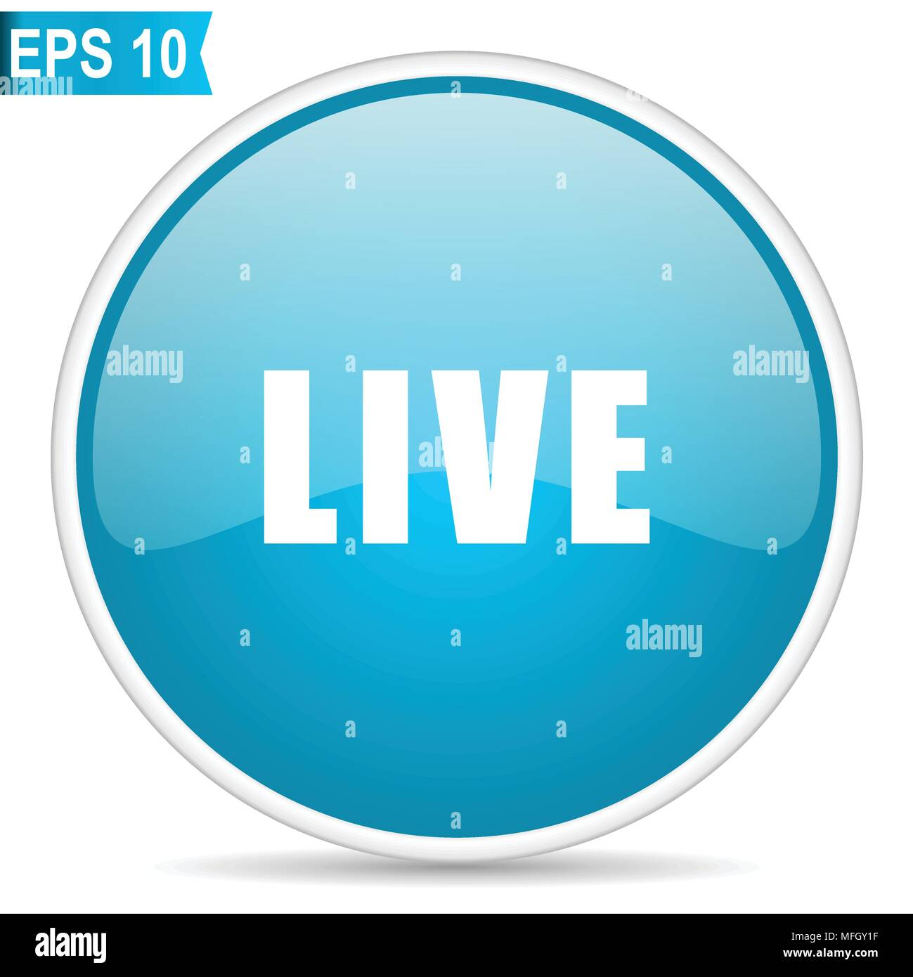 Live blue glossy round vector icon in eps 10. Editable modern design internet button on white background. - Stock Image