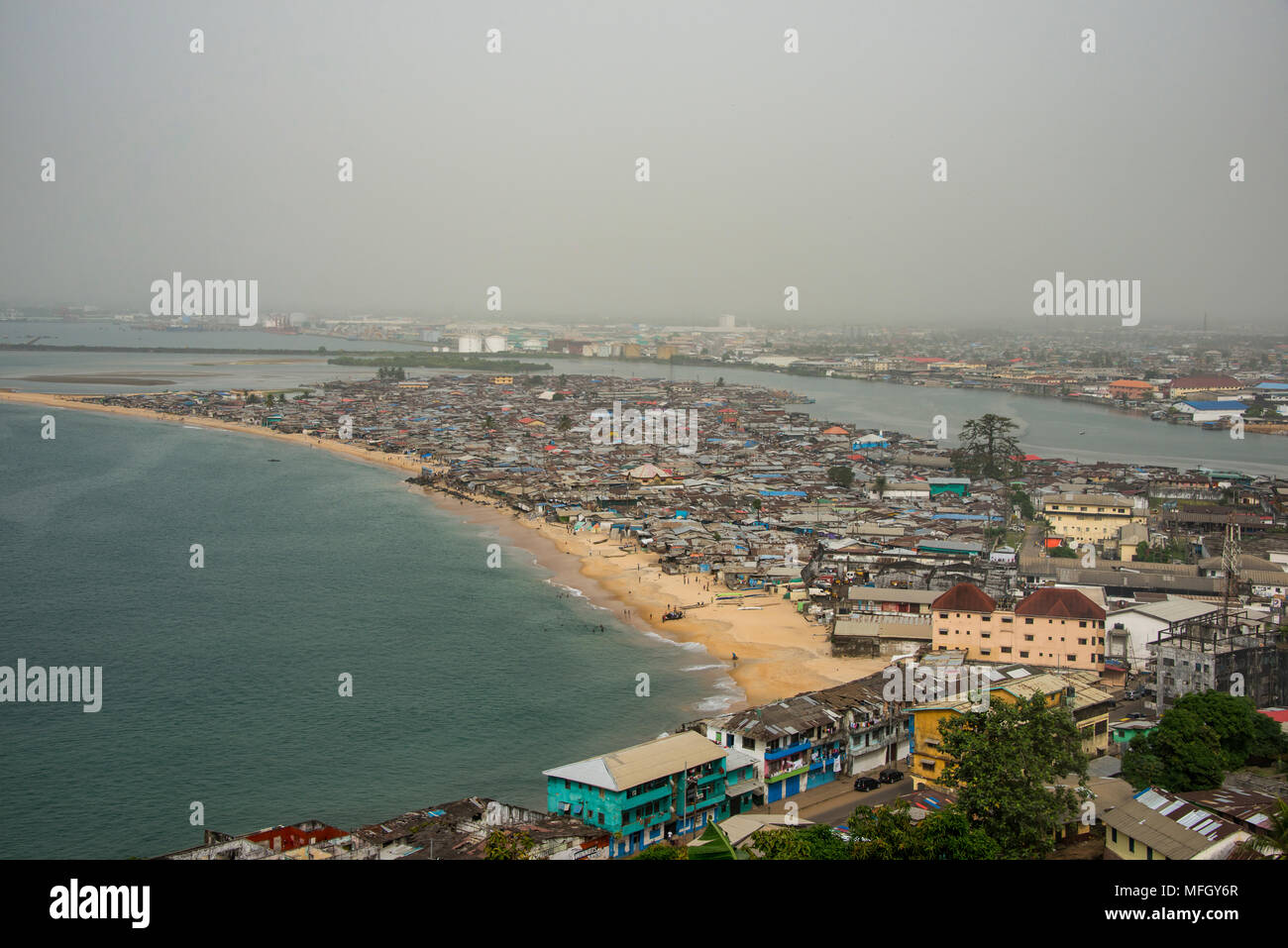 View over the shantytown of West Point, Monrovia, Liberia, West Africa, Africa - Stock Image
