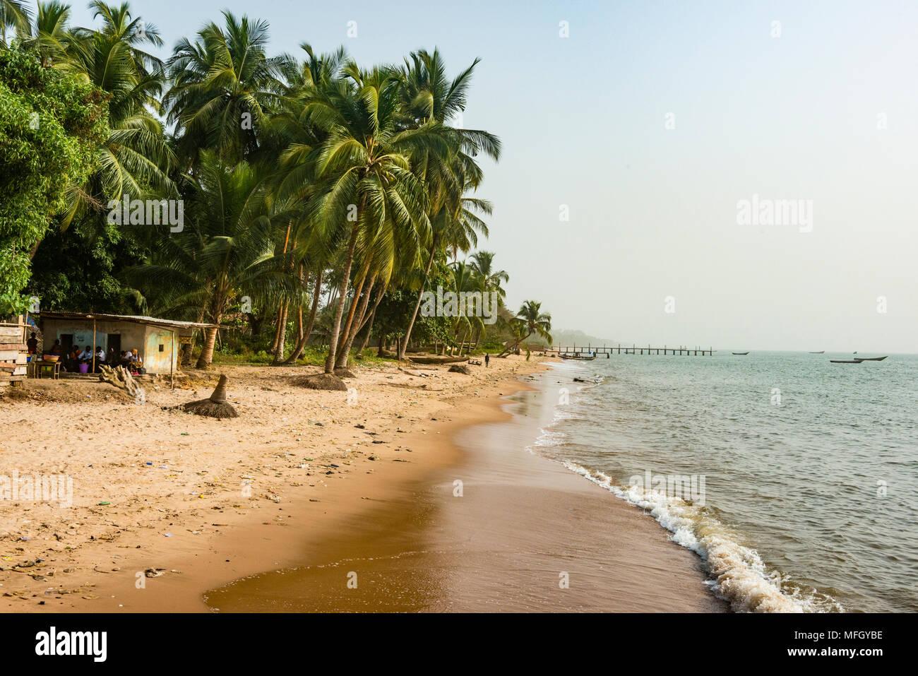 Beautiful beach in Neekreen near Buchanan, Liberia, West Africa, Africa - Stock Image