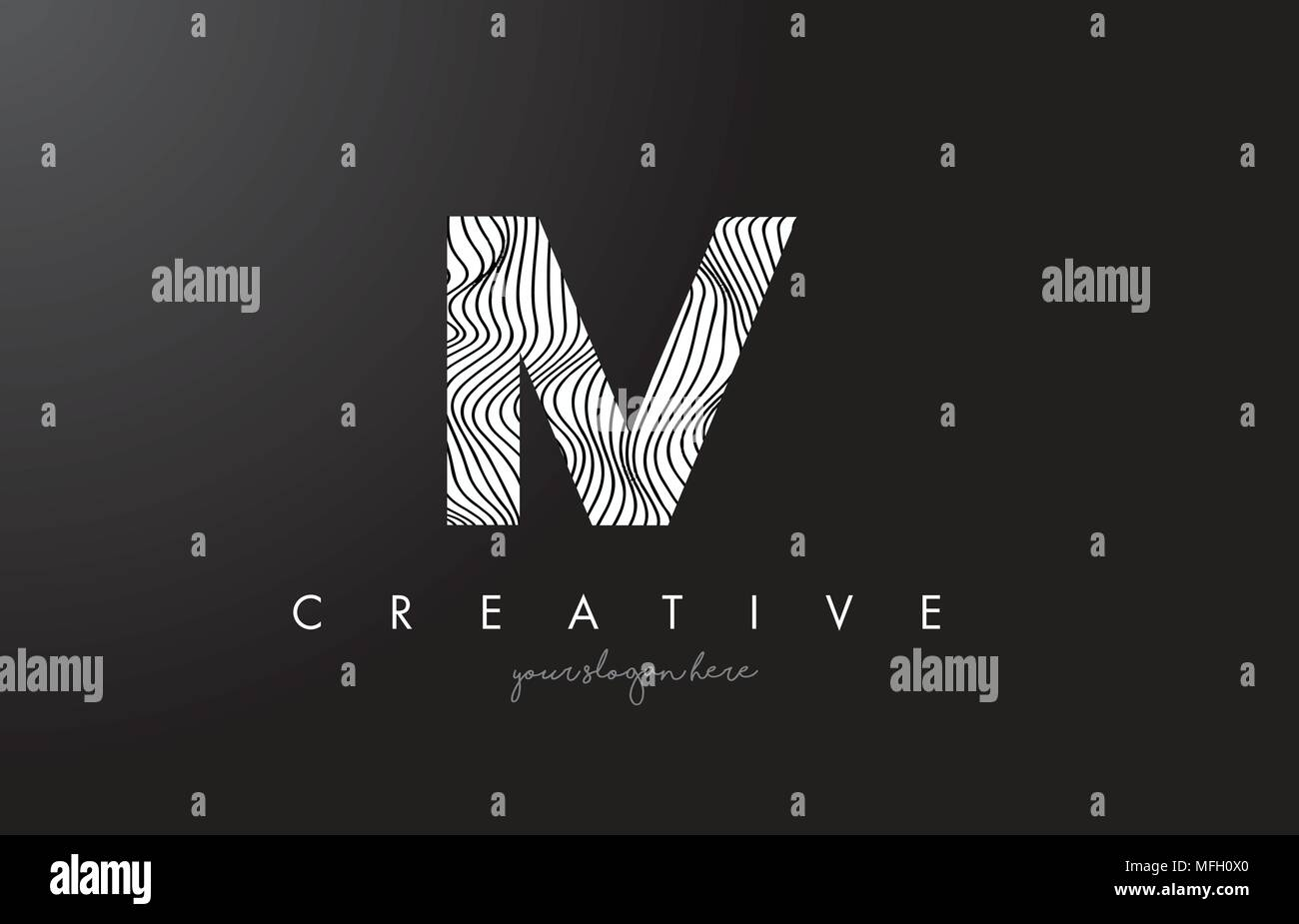 IV I V Letter Logo with Zebra Lines Texture Design Vector Illustration. - Stock Vector