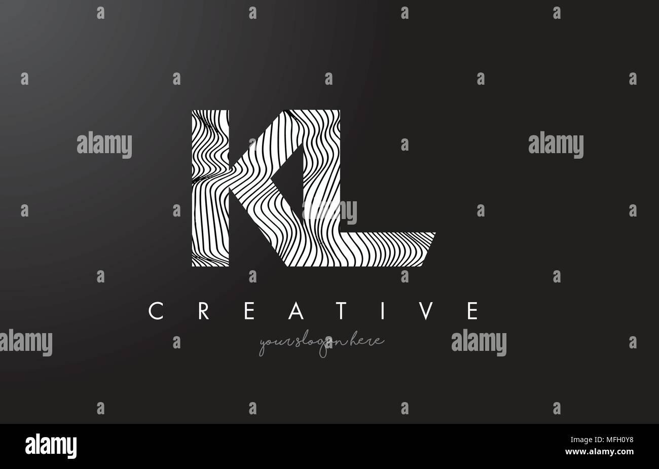 KL K L Letter Logo with Zebra Lines Texture Design Vector Illustration. - Stock Vector
