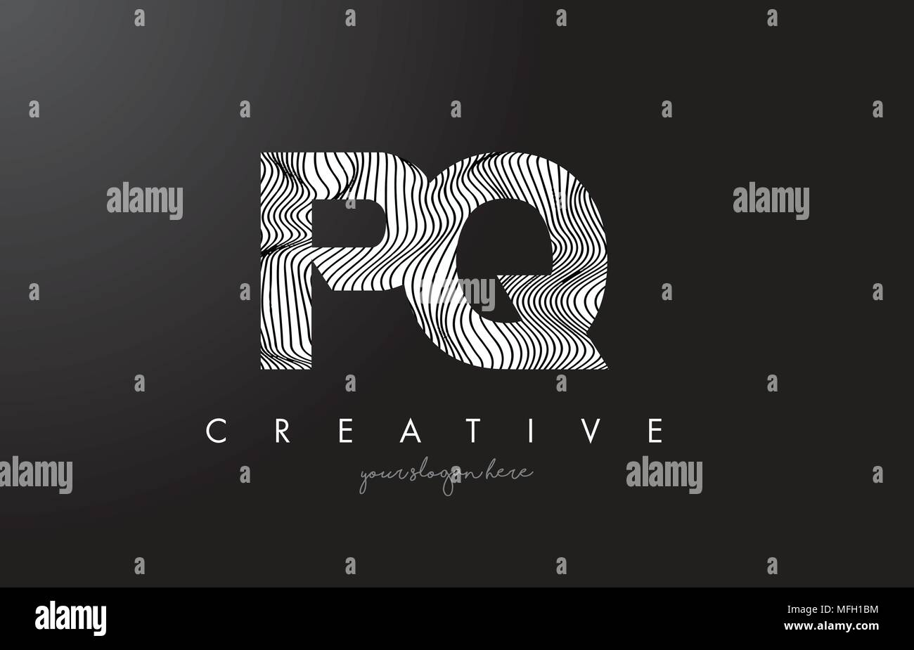 PQ P Q Letter Logo with Zebra Lines Texture Design Vector Illustration. - Stock Image