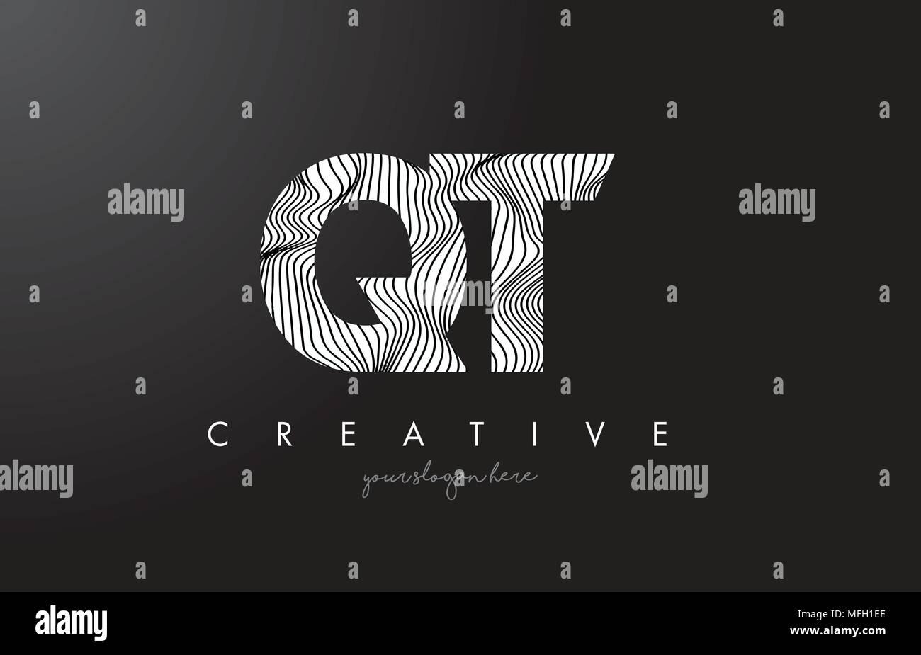 QT Q T Letter Logo with Zebra Lines Texture Design Vector Illustration. - Stock Image