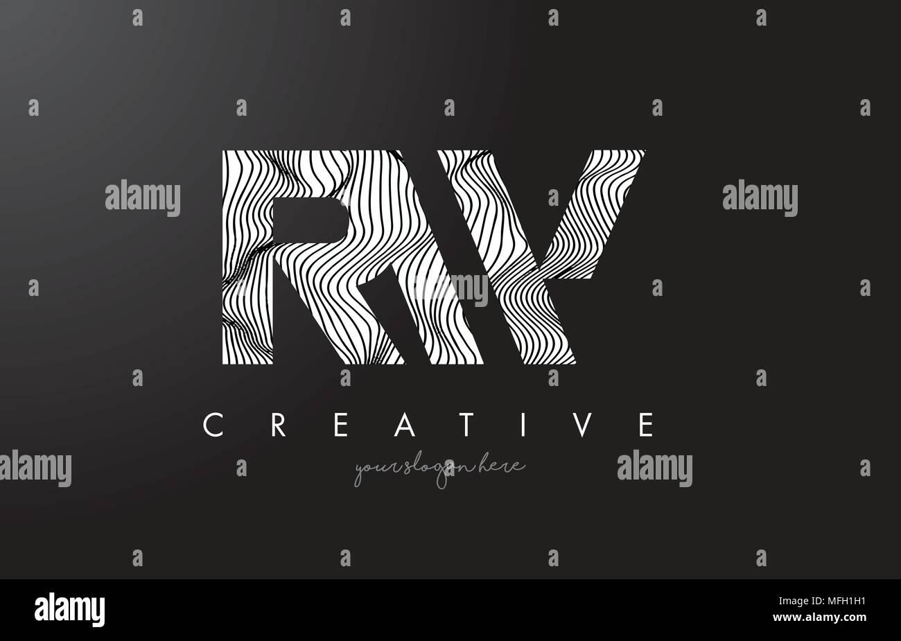 RW R W Letter Logo with Zebra Lines Texture Design Vector Illustration. - Stock Image