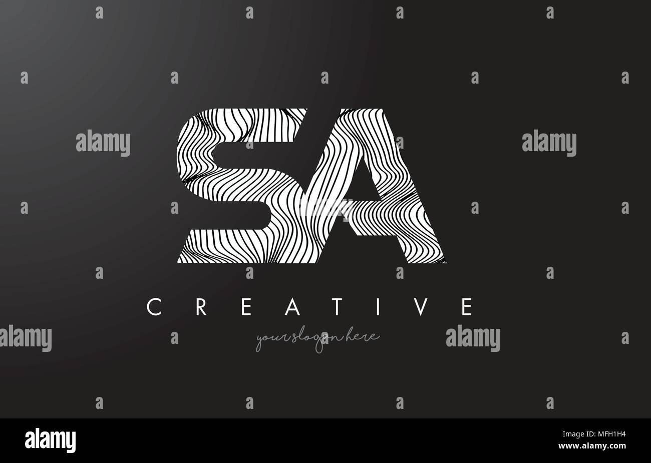 SA S A Letter Logo with Zebra Lines Texture Design Vector Illustration. - Stock Vector