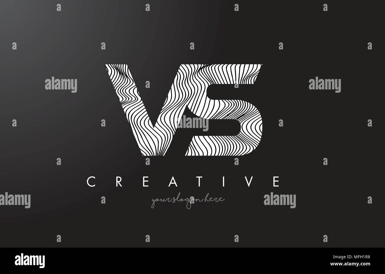 VS V S Letter Logo with Zebra Lines Texture Design Vector Illustration. - Stock Vector