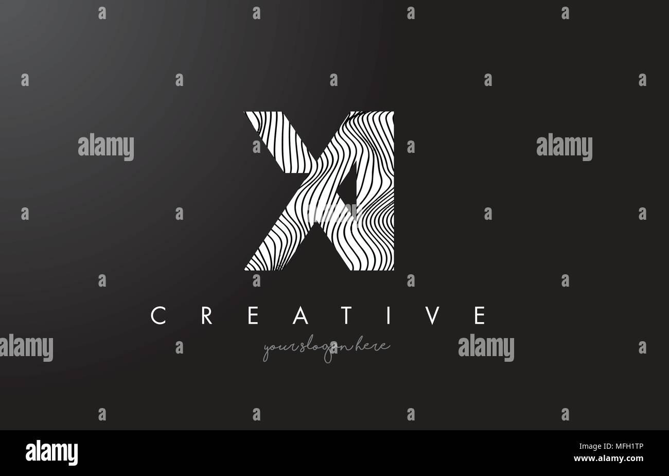 XI X I Letter Logo with Zebra Lines Texture Design Vector Illustration. - Stock Vector