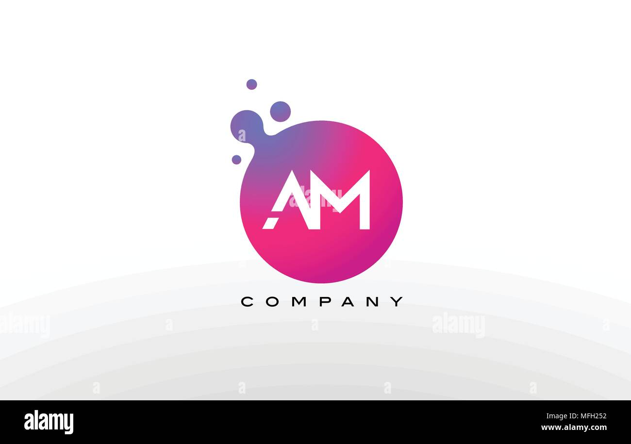 AM Letter Dots Logo Design with Creative Trendy Bubbles and Purple ...