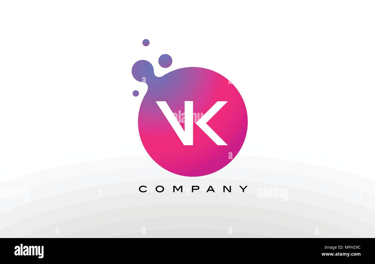 VK Letter Dots Logo Design with Creative Trendy Bubbles and Purple ...