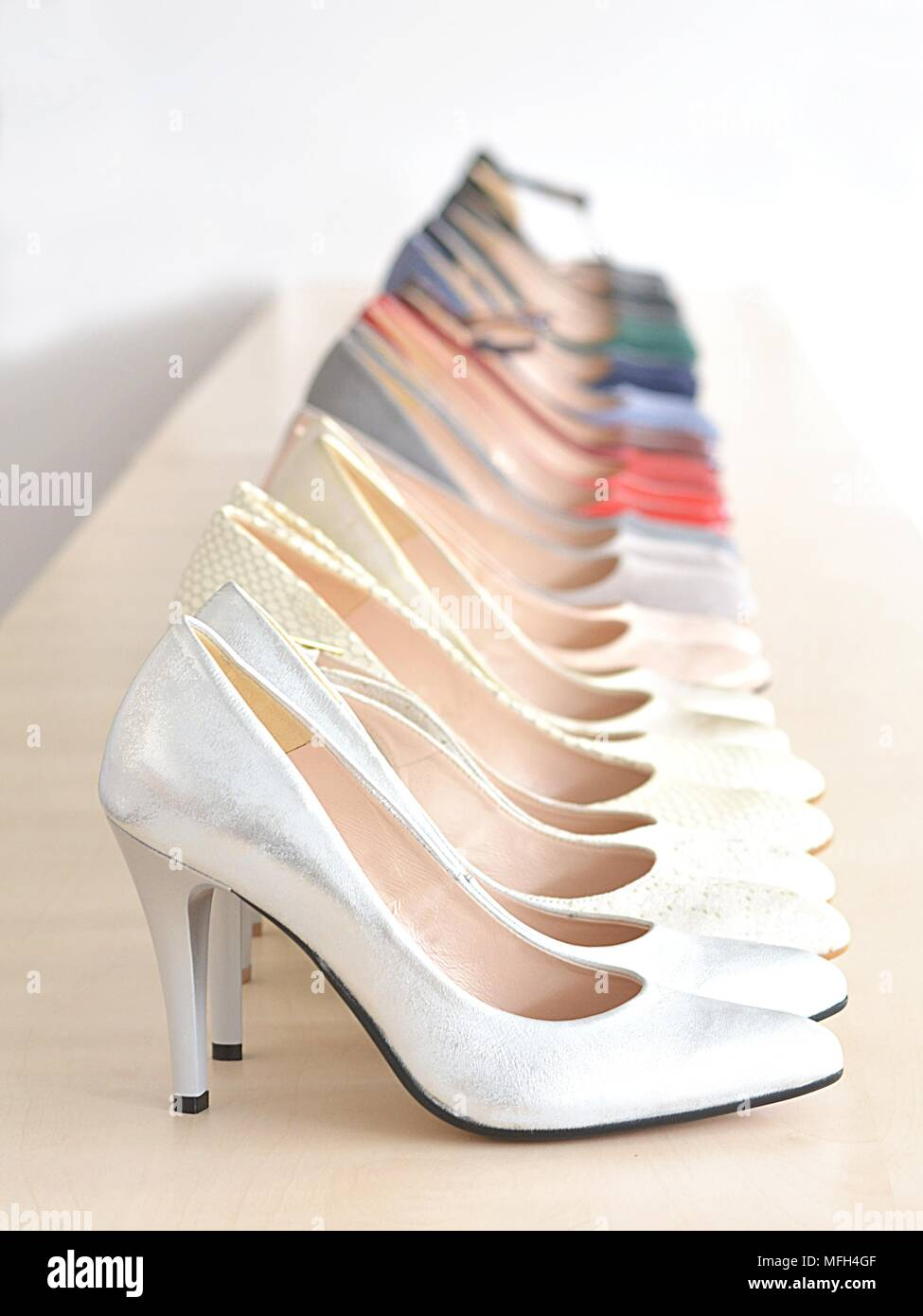 indoor store with ladies shoes - Stock Image