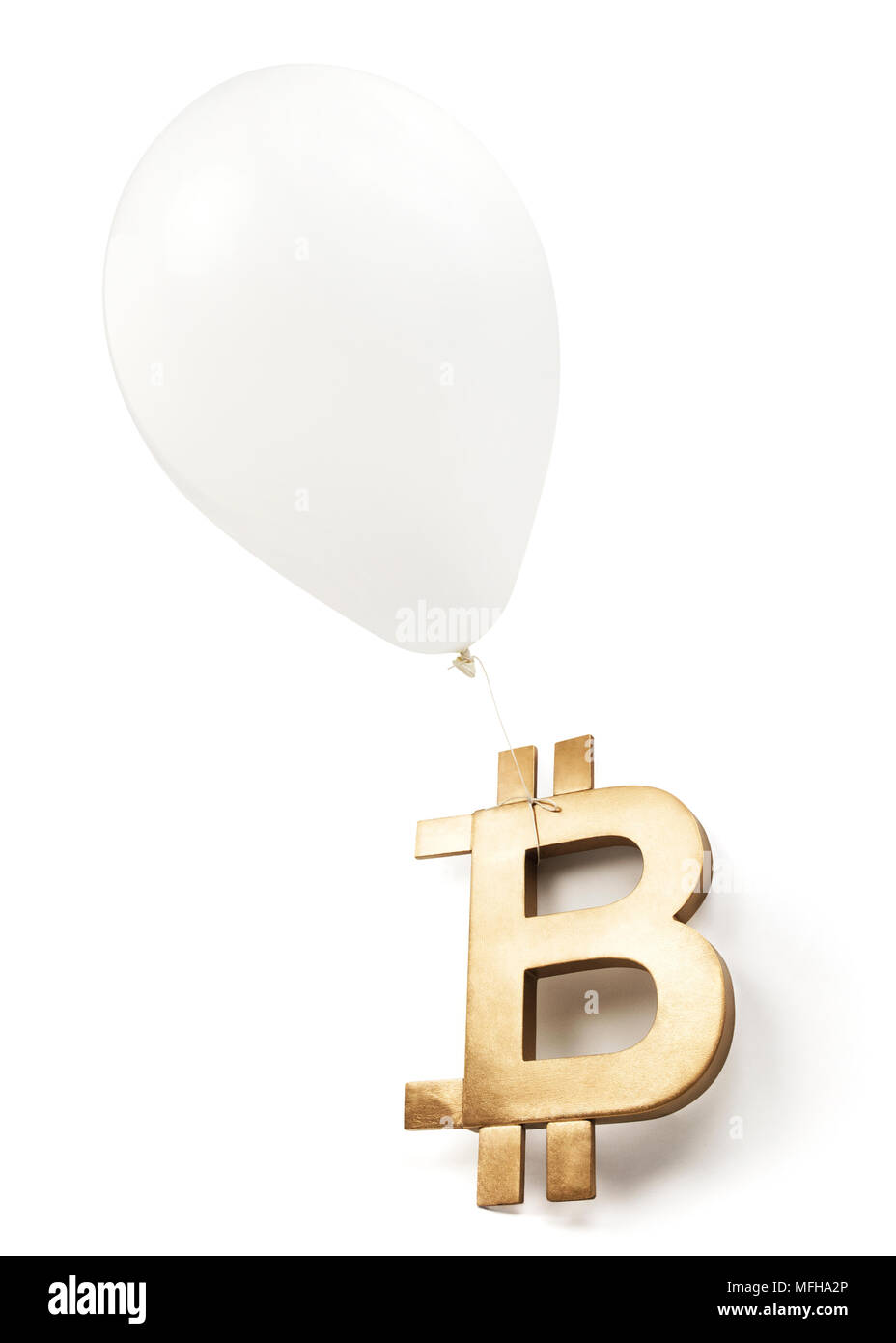 Bitcoin Bubble — Isolated bitcoin symbol with white balloon. - Stock Image