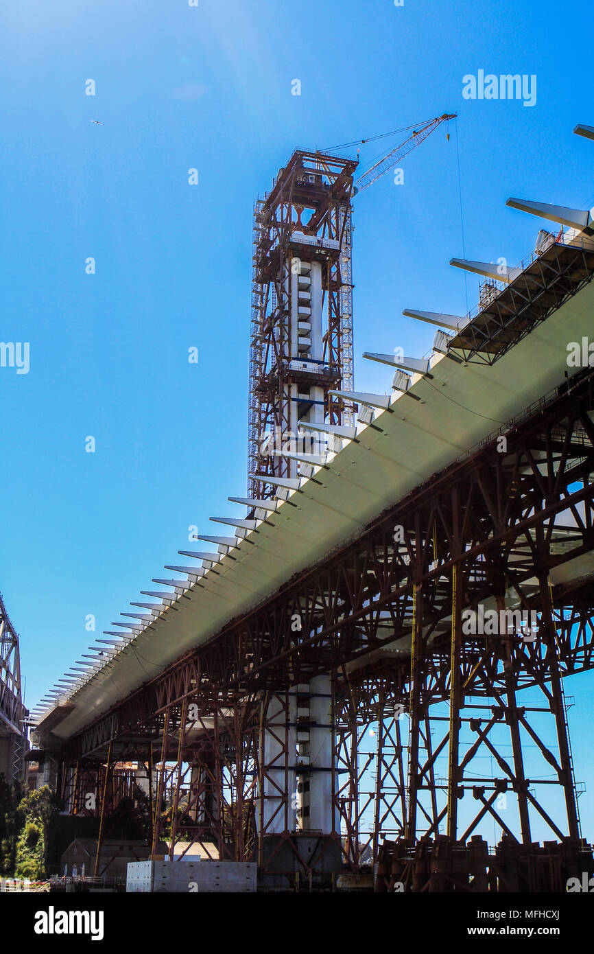 Construction of the self-anchored suspension span tower on the San Francisco-Oakland Bridge in California - Stock Image