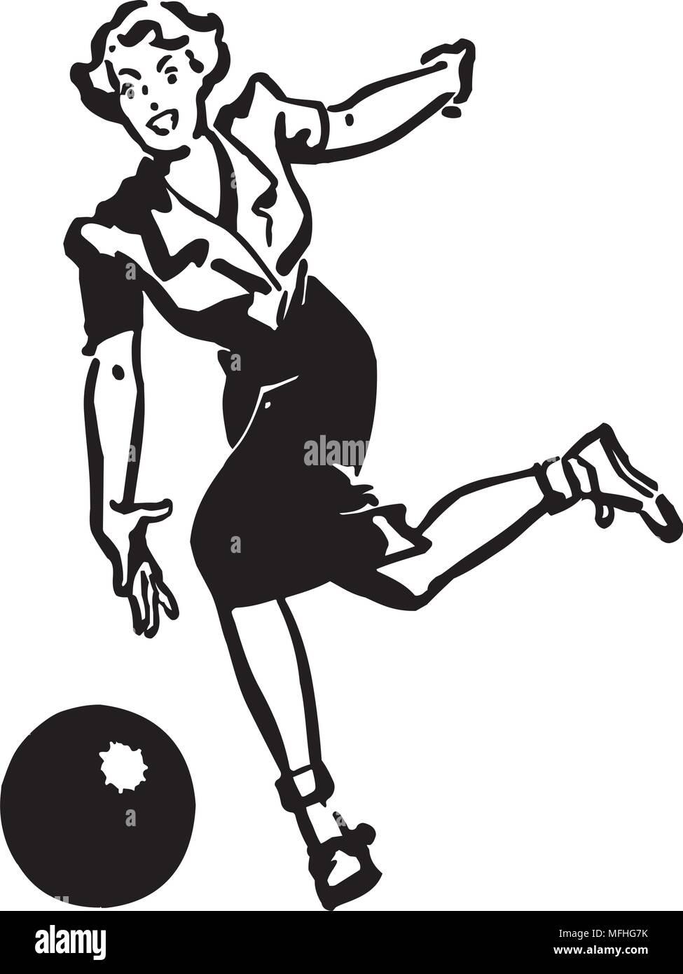 Lady Bowler - Retro Clipart Illustration - Stock Vector