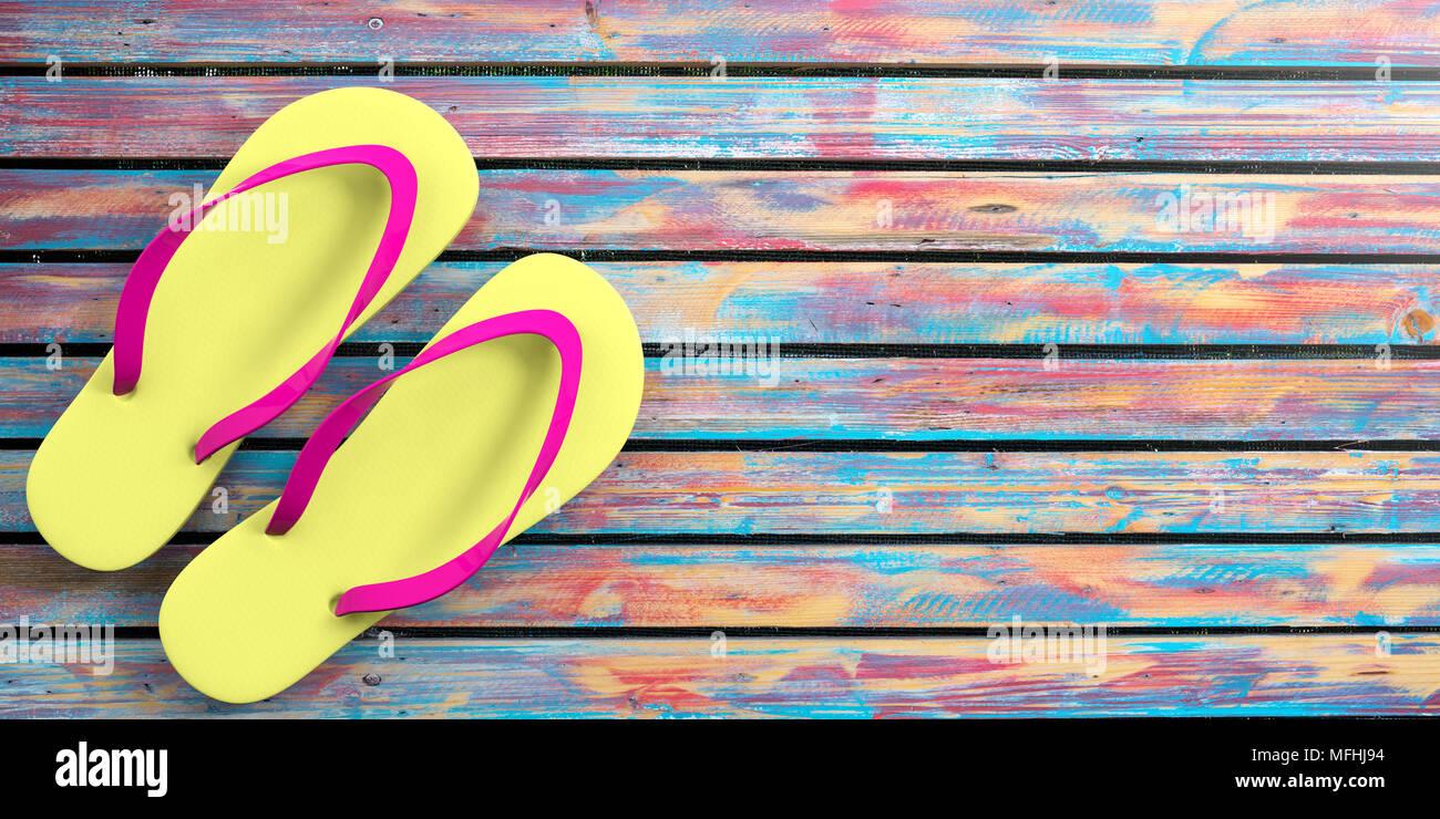 46a68d6abaf13 Summer beach holidays. Flip flops on colorful wooden background