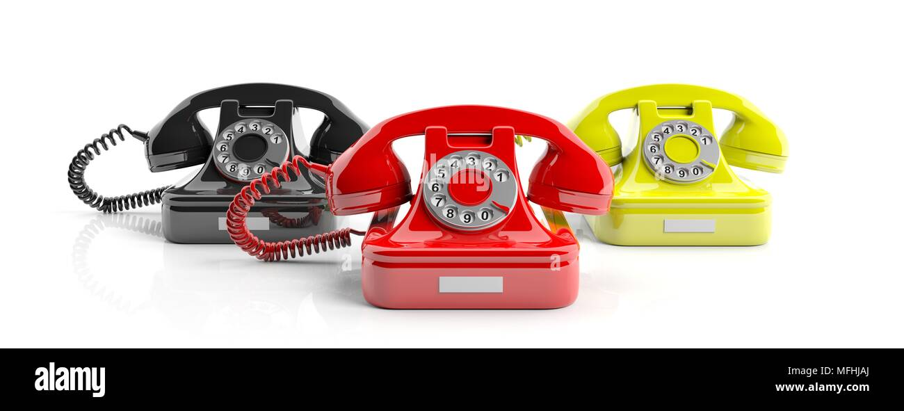 Old retro phones, red, yellow and black, isolated on white background. 3d illustration - Stock Image