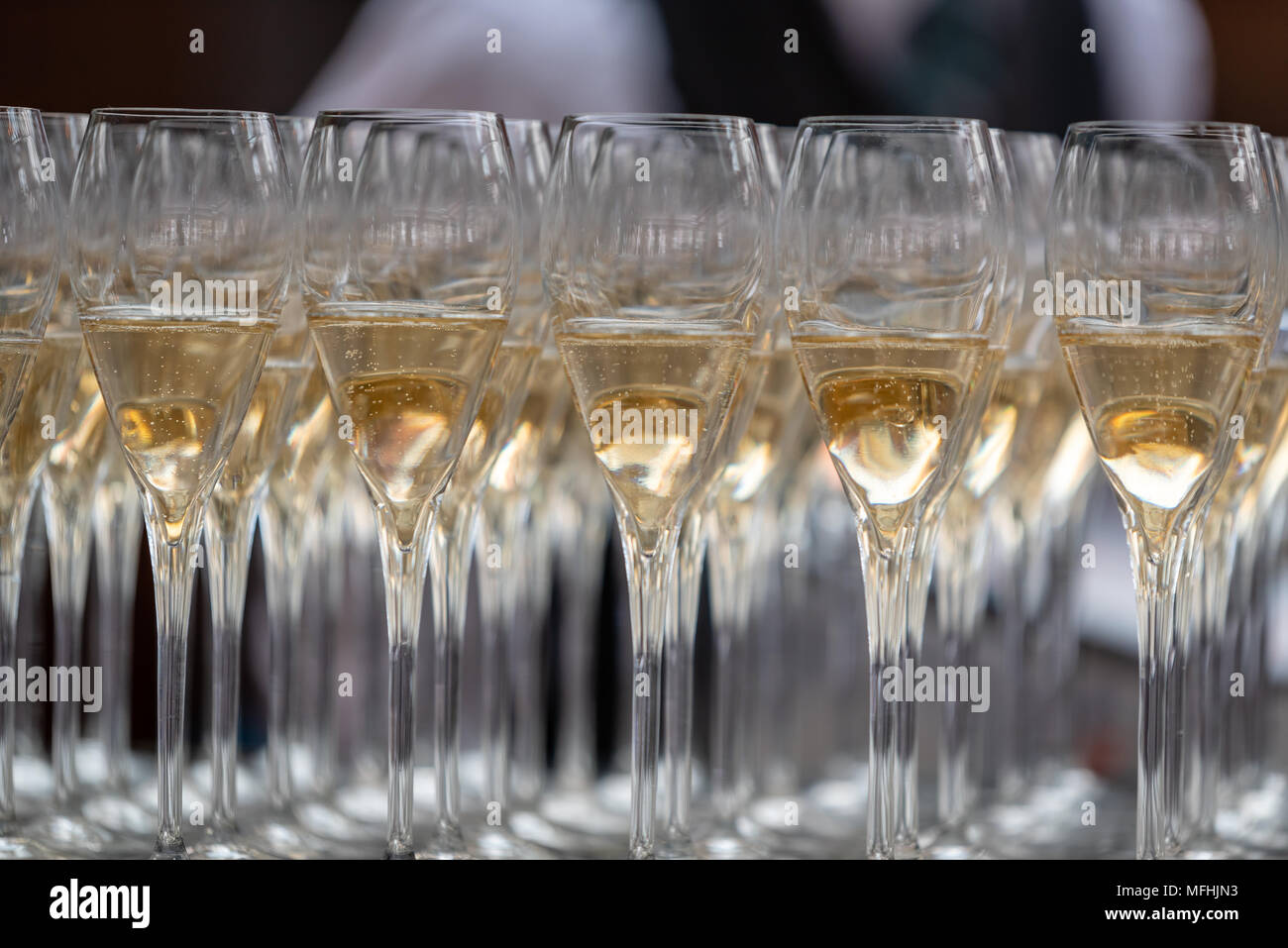 Rows of Champagne glasses - Stock Image