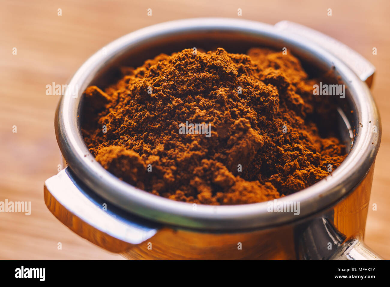 ground coffee in a holder - Stock Image