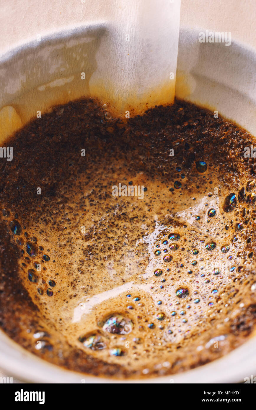 Drip brewing filtered coffee - Stock Image