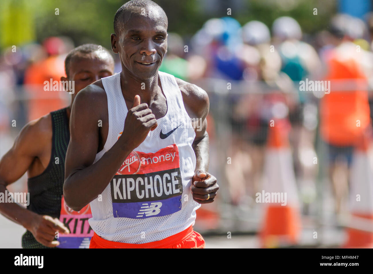 Winner of the Virgin Money London Marathon 2018. Eluid Kipchoge followed by second place finisher. Stock Photo